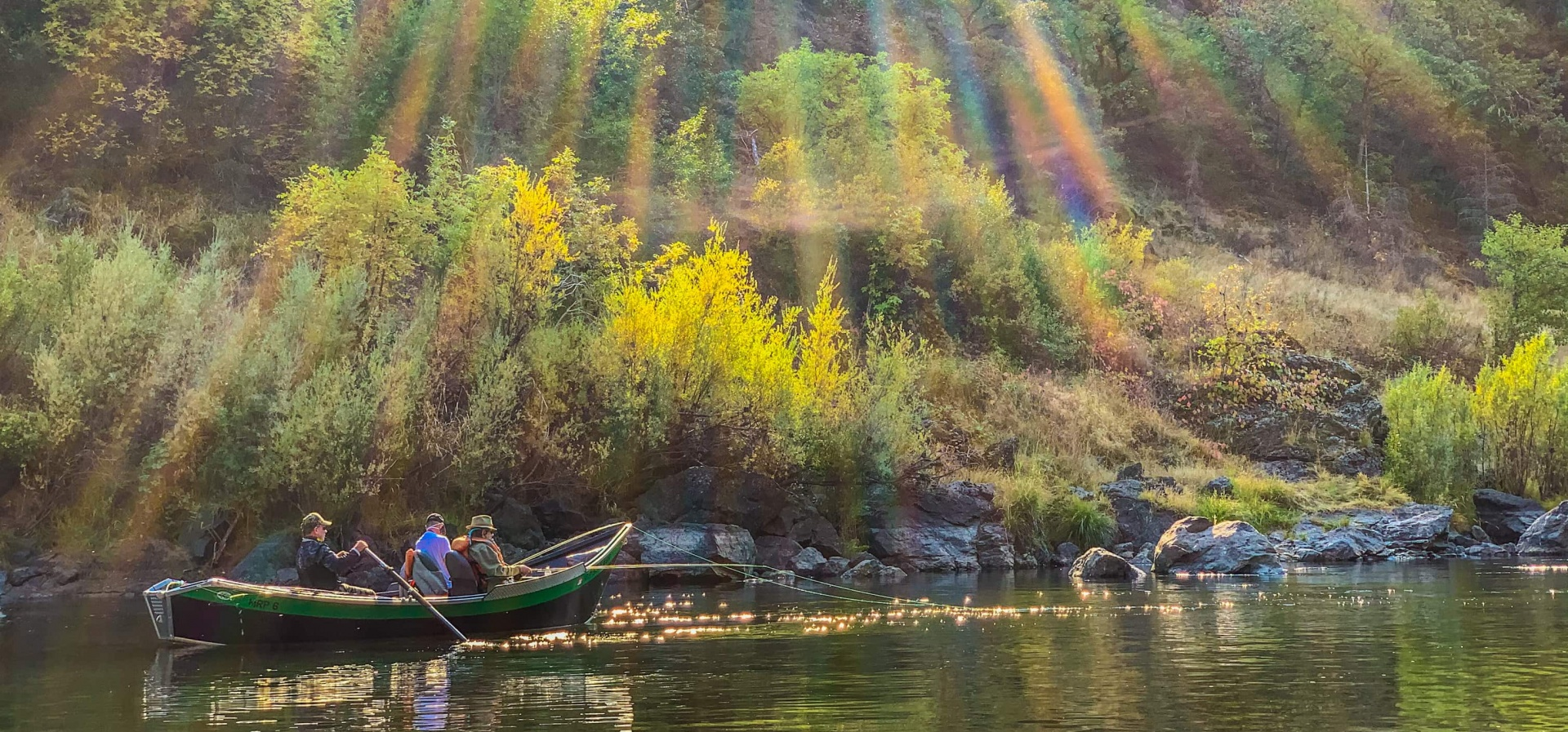 Guided fishing on the Rogue River in a drift boat